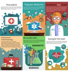 Mini medicine poster muliticolored set vector