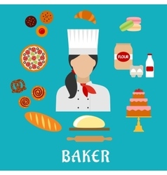 Baker profession and pastries flat icons vector