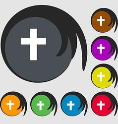 Religious cross christian icon symbols on eight vector