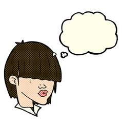 Cartoon fashion haircut with thought bubble vector