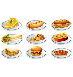 Set of fastfood on plates vector