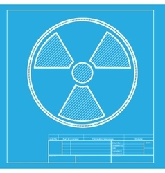 Radiation round sign white section of icon on vector