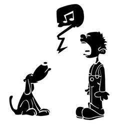 black boy and dog singing vector image