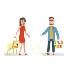 blind man and woman vector image vector image