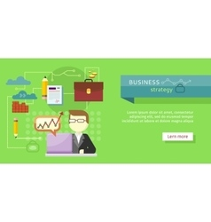 Business strategy web banner performance analysis vector