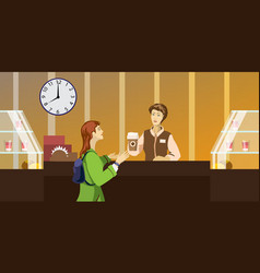 character people in the restaurant vector image vector image