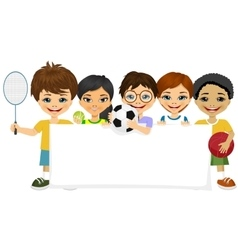 children with different sports equipment vector image vector image