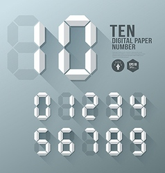 Digital Number paper and shadow design vector image