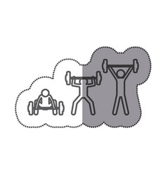 Figure man lifting weights icon vector
