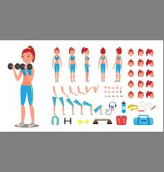fitness girl animated sport female vector image
