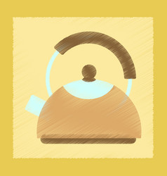 flat shading style icon coffee kettle dishware vector image vector image