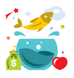 goldfish flat style colorful cartoon vector image