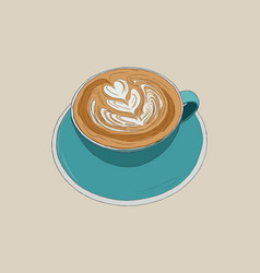 hot cappucino coffee with latte art sketch vector image vector image