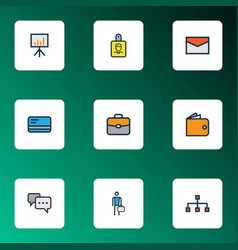 Job colorful outline icons set collection of bank vector