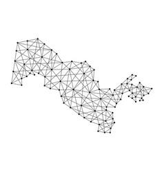Map of uzbekistan from polygonal black lines vector