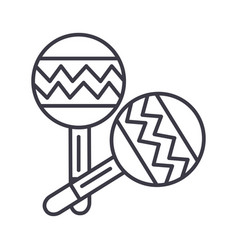 maracas line icon sign on vector image
