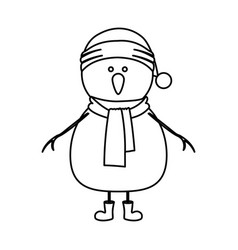 Monochrome contour of snowman with cap and scarf vector