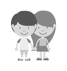 Monochrome couple of children taken from the hand vector