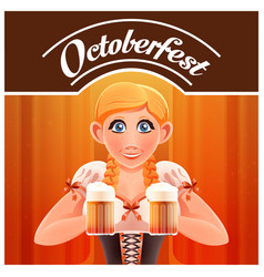 octoberfest with woman and beer banner vector image