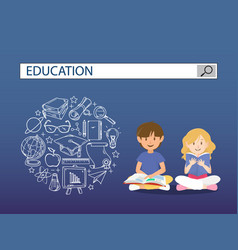 Reading boy and girl with education search engine vector