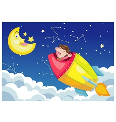 rocket in sky moon night vector image vector image