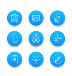 Science line icons laboratory chemistry vector
