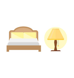Sleep icons bed set lamp set vector