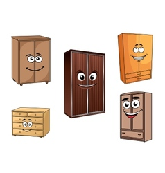 Smiling cartoon cupboards set vector image vector image