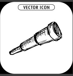 telescope icon hand drawn vector image