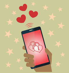 Valentine sends mobile phone vector