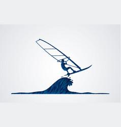 Windsurfing man play windsurf graphic vector