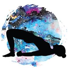 Women silhouette bridge yoga pose setu bandha vector