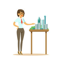 young architect woman presenting model of city vector image vector image