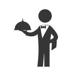 Waiter plate male pictogram suit person icon vector