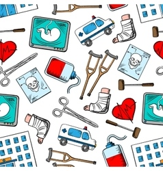 Medical seamless background with medicine icons vector