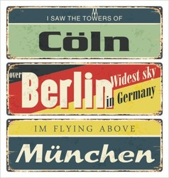 Retro signs germany city berlin vector