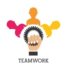 pictogram gears teamwork support design vector image