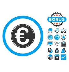 Euro coin flat icon with bonus vector