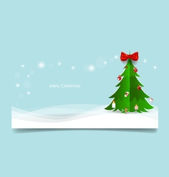 Christmas Greeting Card with Christmas tree vector image