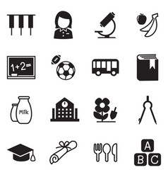 Kindergarten school education icons vector