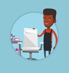 hairdresser at workplace in barber shop vector image