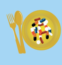 Tablets pills on the plate vector