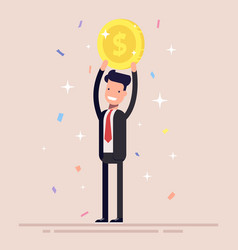 businessman or manager holds a gold coin over his vector image