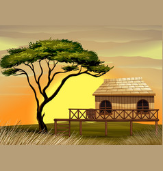 Scene with wooden hut in the field vector