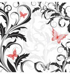 background with flowers and butterflies vector image