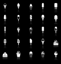 Ice cream icons with reflect on black background vector