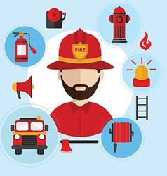 Firefighter and icons around flat style vector