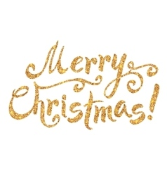 Golden glitter paint hand drawn merry christmas vector
