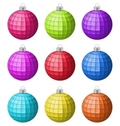Collection colorful christmas glass balls isolated vector