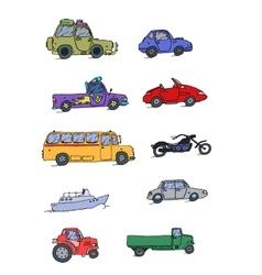 Transport Sketch Set color vector image